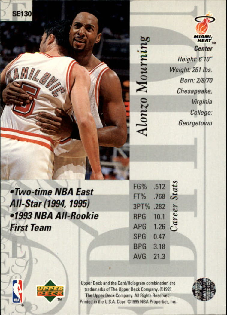 1995-96 Upper Deck Special Edition #130 Alonzo Mourning back image
