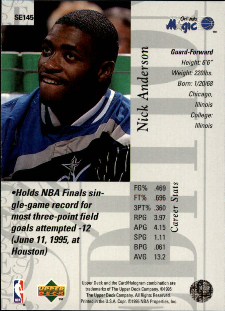 1995-96 Upper Deck Special Edition #145 Nick Anderson back image