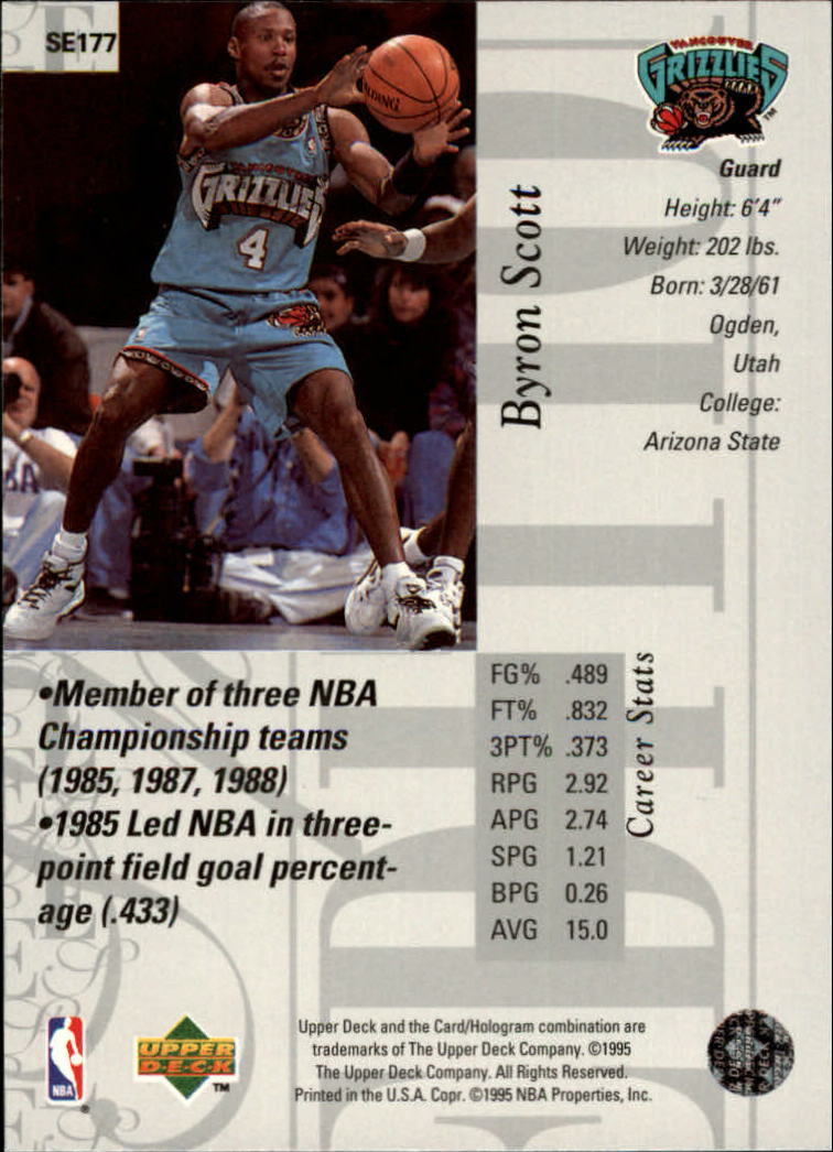 1995-96 Upper Deck Special Edition #177 Byron Scott back image