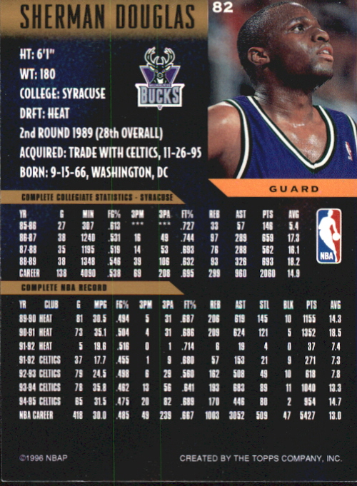 1995-96 Topps Gallery Player's Private Issue #82 Sherman Douglas back image