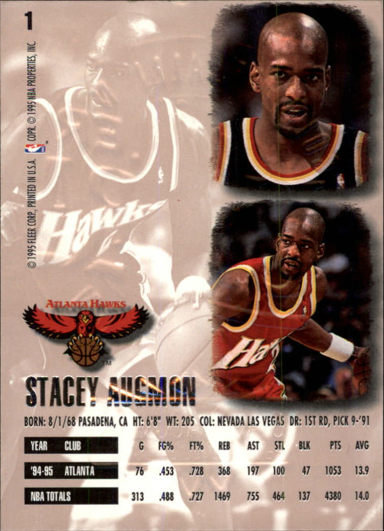 1995-96 Ultra Gold Medallion #1 Stacey Augmon back image