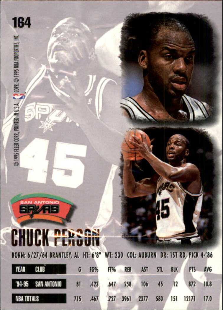 1995-96 Ultra Gold Medallion #164 Chuck Person back image