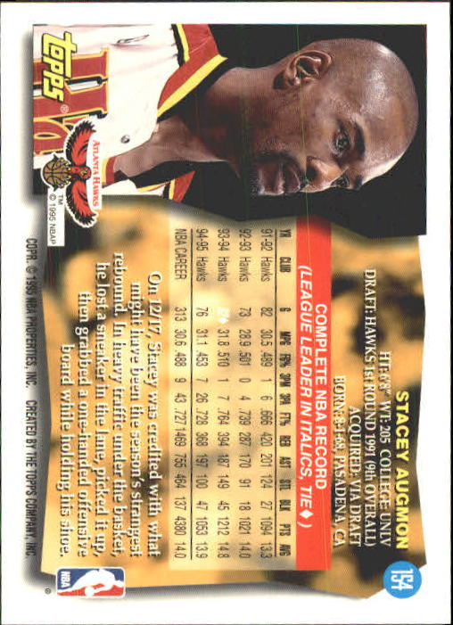 1995-96 Topps #154 Stacey Augmon back image