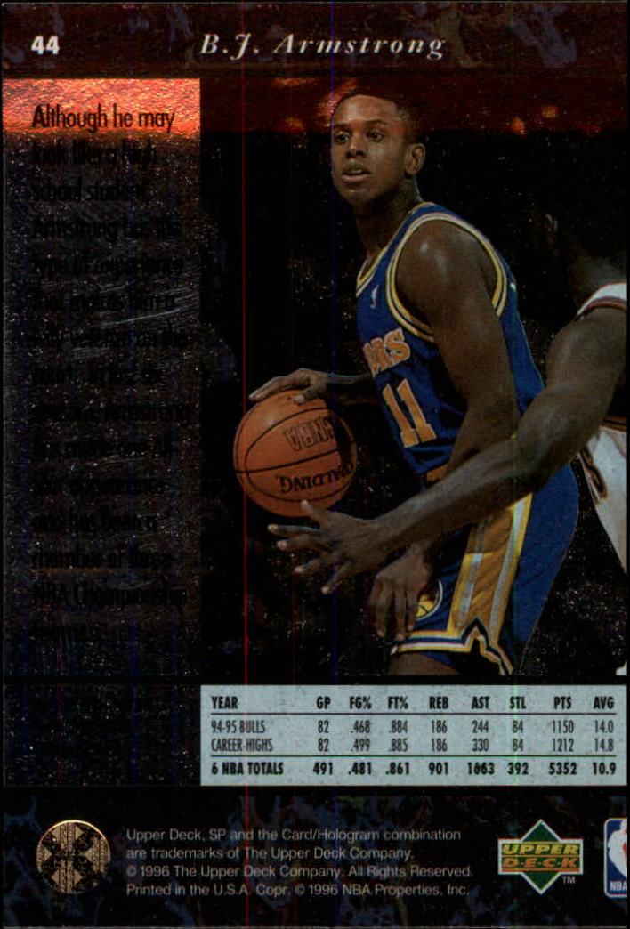 1995-96 SP #44 B.J. Armstrong back image