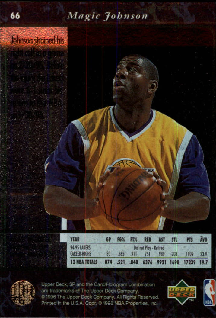 1995-96 SP #66 Magic Johnson back image