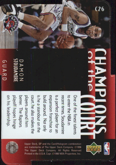 1995-96 SP Championship Champions of the Court Die Cuts #C26 Damon Stoudamire back image