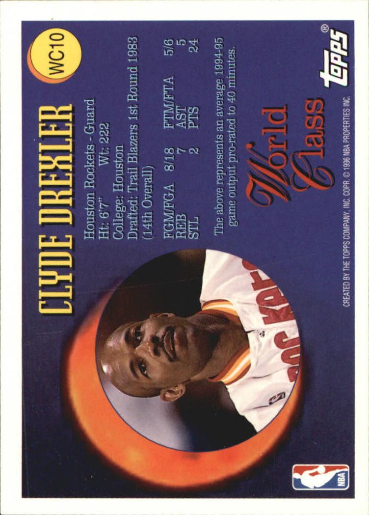 1995-96 Topps World Class #WC10 Clyde Drexler back image