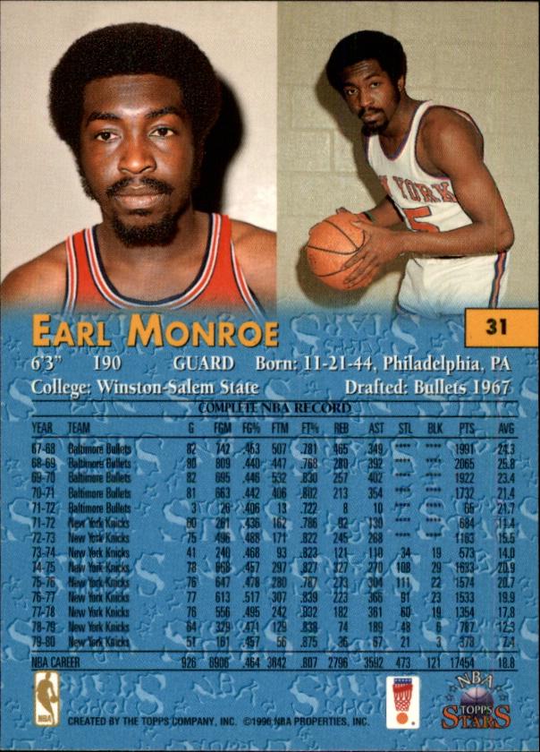 1996 Topps Stars #31 Earl Monroe back image