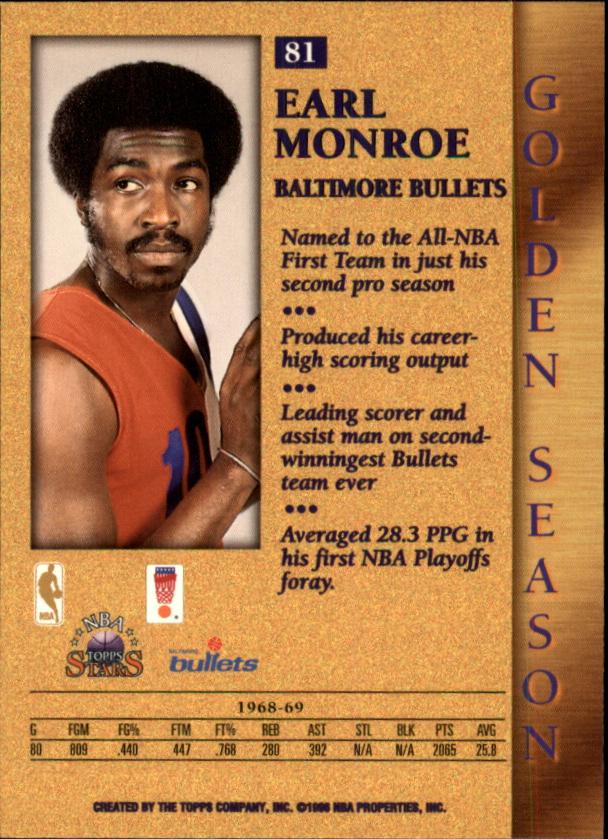 1996 Topps Stars #81 Earl Monroe GS back image
