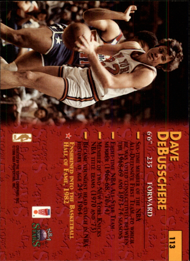 1996 Topps Stars #113 Dave DeBusschere back image