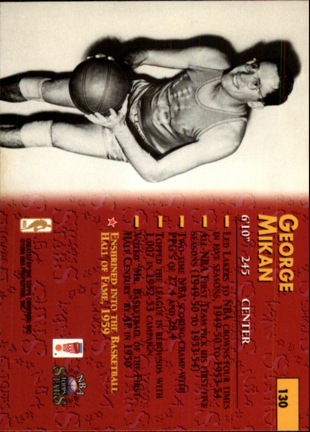 1996 Topps Stars #130 George Mikan back image