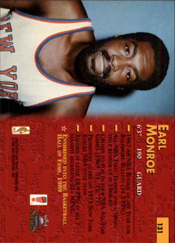 1996 Topps Stars #131 Earl Monroe back image