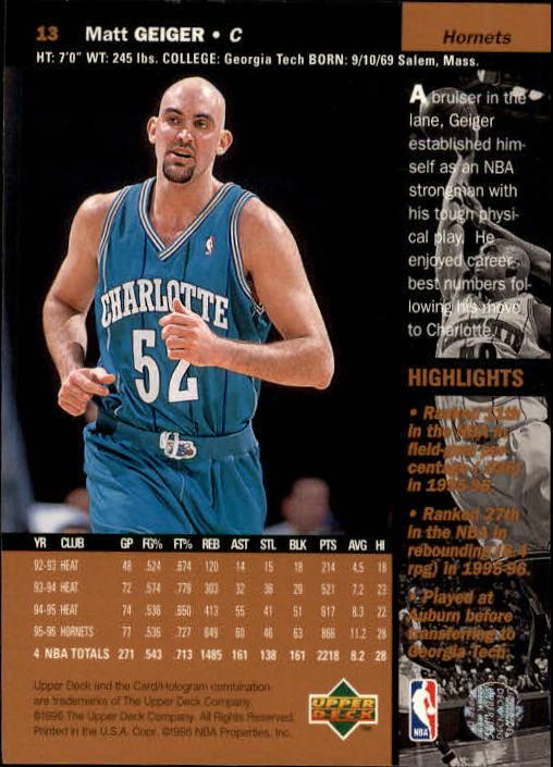 1996-97 Upper Deck #13 Matt Geiger back image