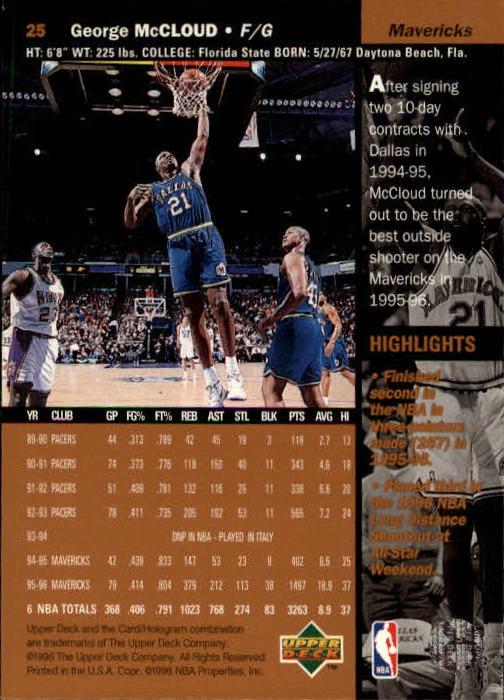 1996-97 Upper Deck #25 George McCloud back image