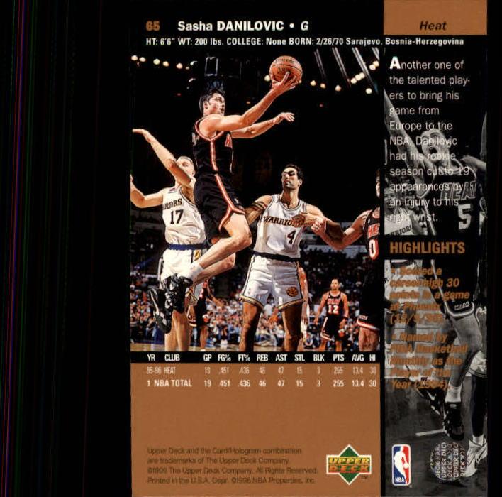 1996-97 Upper Deck #65 Sasha Danilovic back image