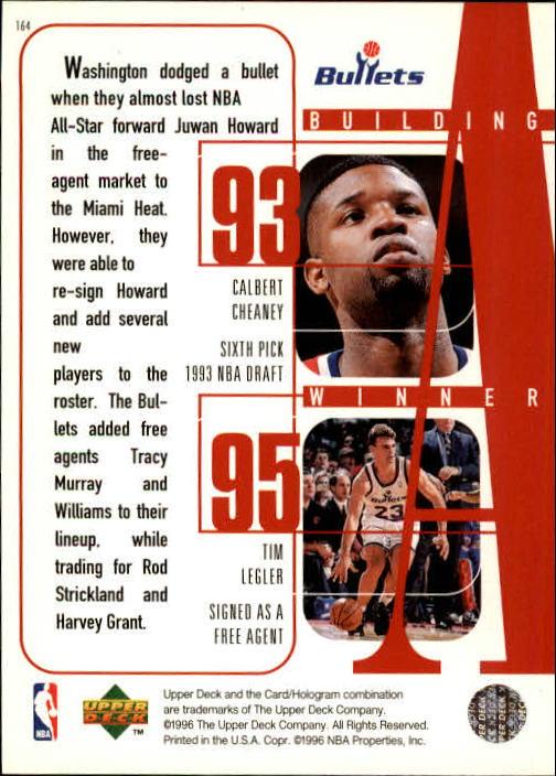 1996-97 Upper Deck #164 Juwan Howard/Gheorge Muresan/Chris Webber/Calbert Cheaney/Tim Legler back image
