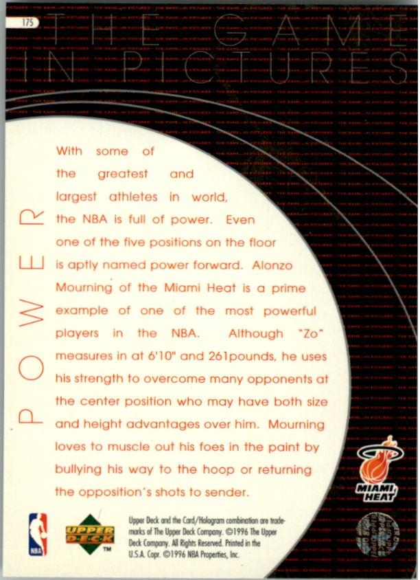 1996-97 Upper Deck #175 Alonzo Mourning GP back image