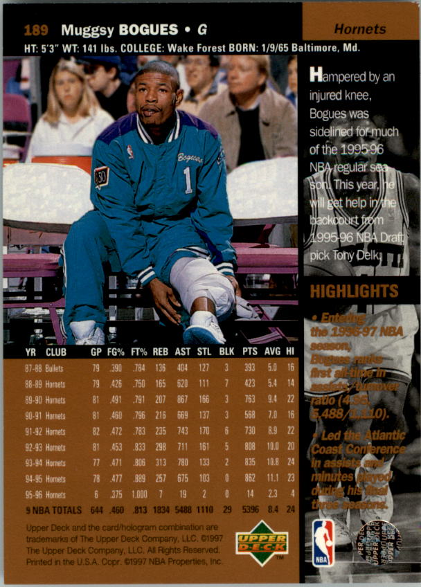 1996-97 Upper Deck #189 Muggsy Bogues back image