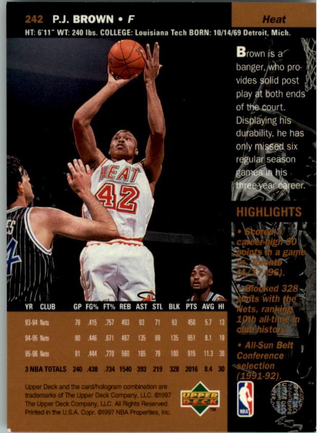 1996-97 Upper Deck #242 P.J. Brown back image