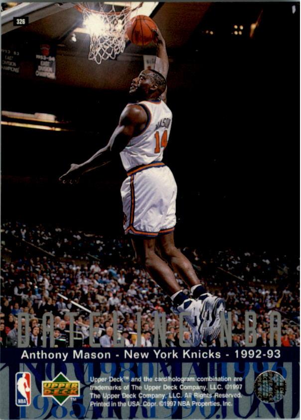 1996-97 Upper Deck #326 Anthony Mason DN back image