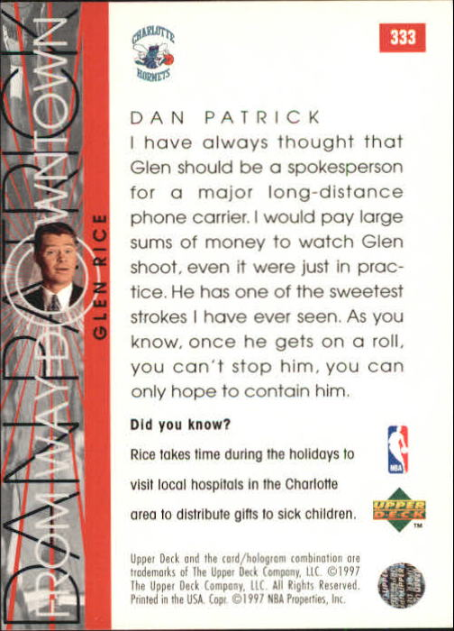 1996-97 Upper Deck #333 Glen Rice WD back image