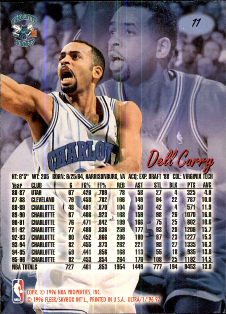 1996-97 Ultra #11 Dell Curry back image