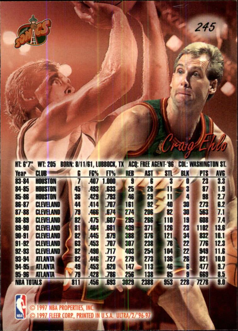 1996-97 Ultra #245 Craig Ehlo back image