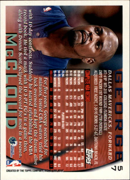 1996-97 Topps NBA at 50 #57 George McCloud back image