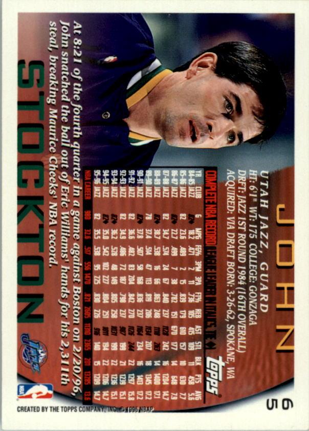 1996-97 Topps NBA at 50 #65 John Stockton back image