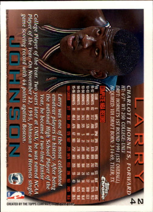 1996-97 Topps Chrome #24 Larry Johnson back image