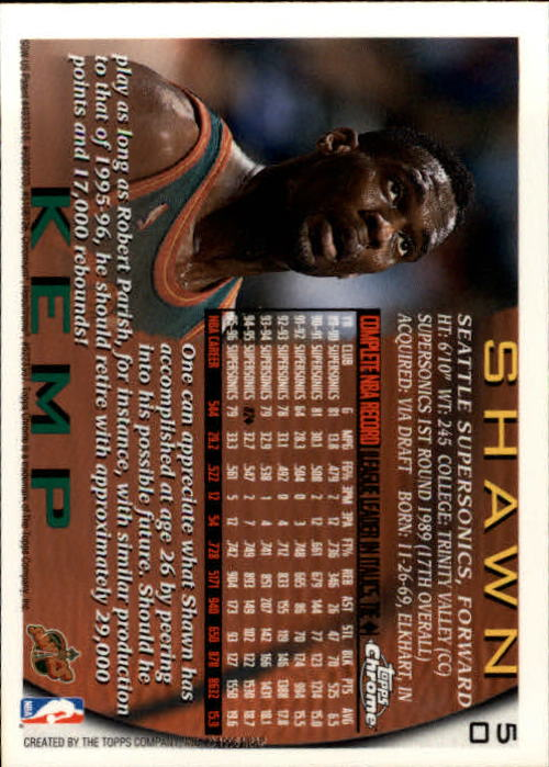 1996-97 Topps Chrome #50 Shawn Kemp back image