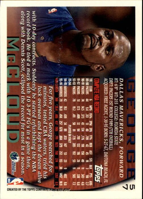 1996-97 Topps #57 George McCloud back image