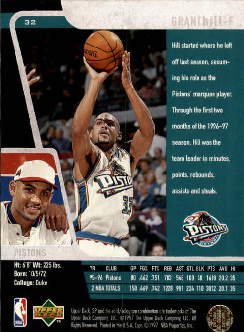 1996-97 SP #32 Grant Hill back image