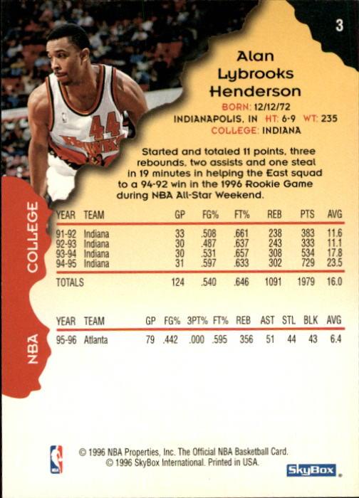 1996-97 Hoops #3 Alan Henderson back image