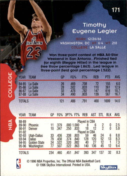 1996-97 Hoops #171 Tim Legler back image