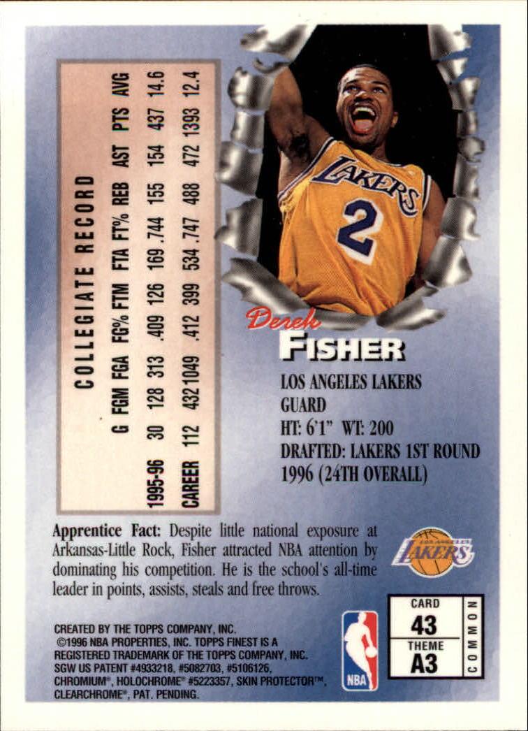 1996-97 Finest #43 Derek Fisher B RC back image