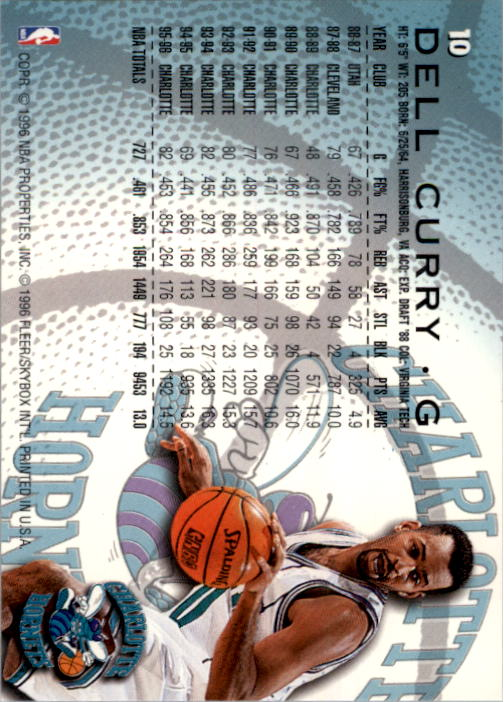 1996-97 Fleer #10 Dell Curry back image