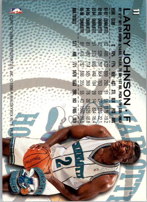 1996-97 Fleer #11 Larry Johnson back image