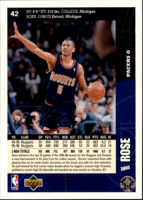 1996-97 Collector's Choice #42 Jalen Rose back image
