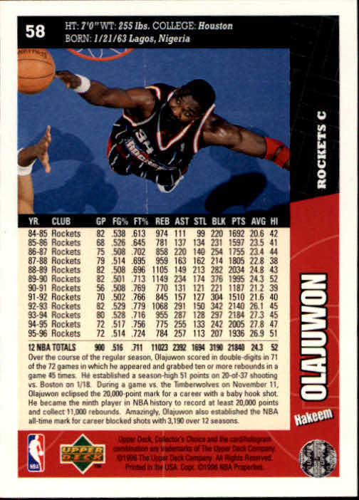 1996-97 Collector's Choice #58 Hakeem Olajuwon back image