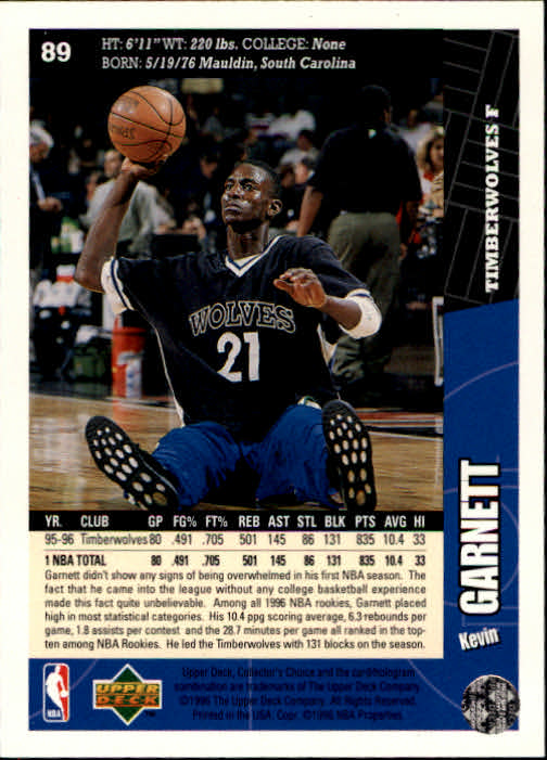 1996-97 Collector's Choice #89 Kevin Garnett back image