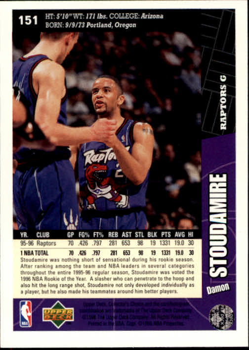 1996-97 Collector's Choice #151 Damon Stoudamire back image