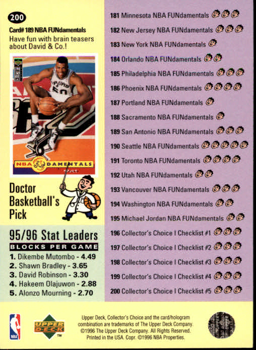 1996-97 Collector's Choice #200 David Robinson/Chris Mullin CL back image