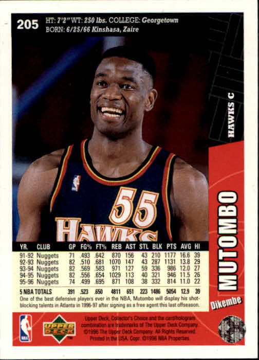 1996-97 Collector's Choice #205 Dikembe Mutombo back image