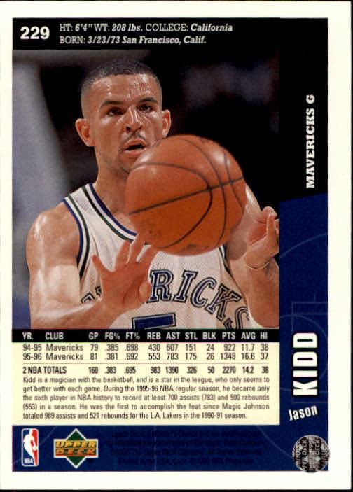 1996-97 Collector's Choice #229 Jason Kidd back image