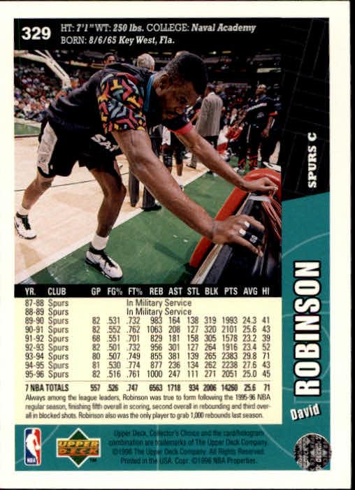 1996-97 Collector's Choice #329 David Robinson back image