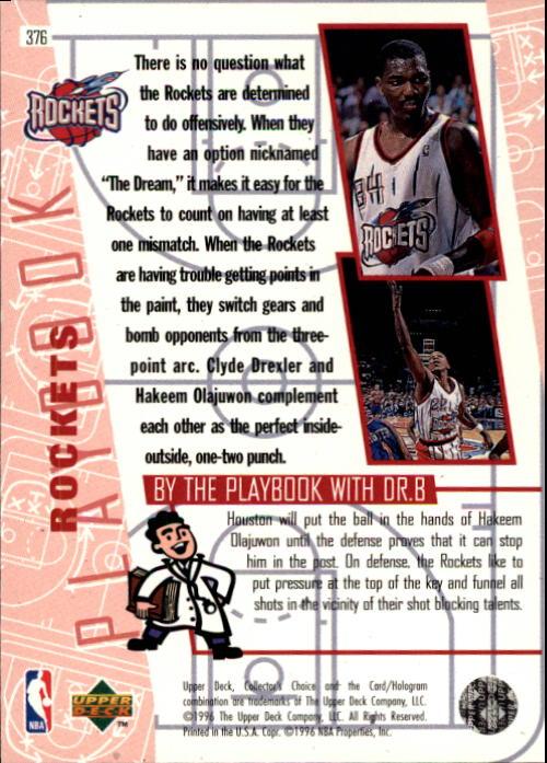 1996-97 Collector's Choice #376 Charles Barkley/Hakeem Olajuwon/Clyde Drexler PLAY back image