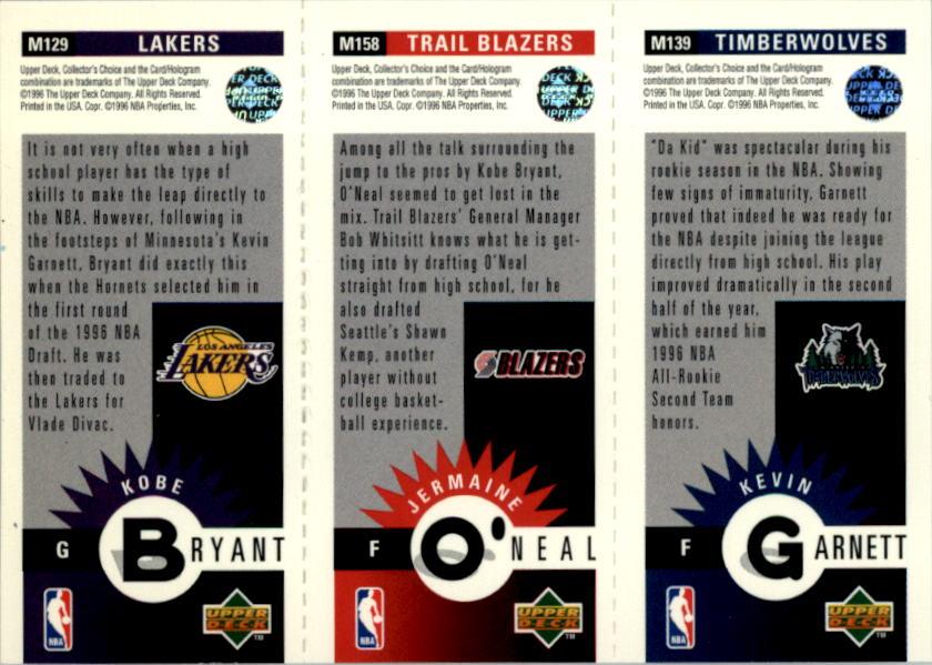 1996-97 Collector's Choice Mini-Cards #M129 Kobe Bryant/Jermaine O'Neal/Kevin Garnett back image
