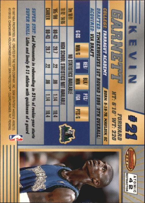 1996-97 Bowman's Best Atomic Refractors #42 Kevin Garnett back image