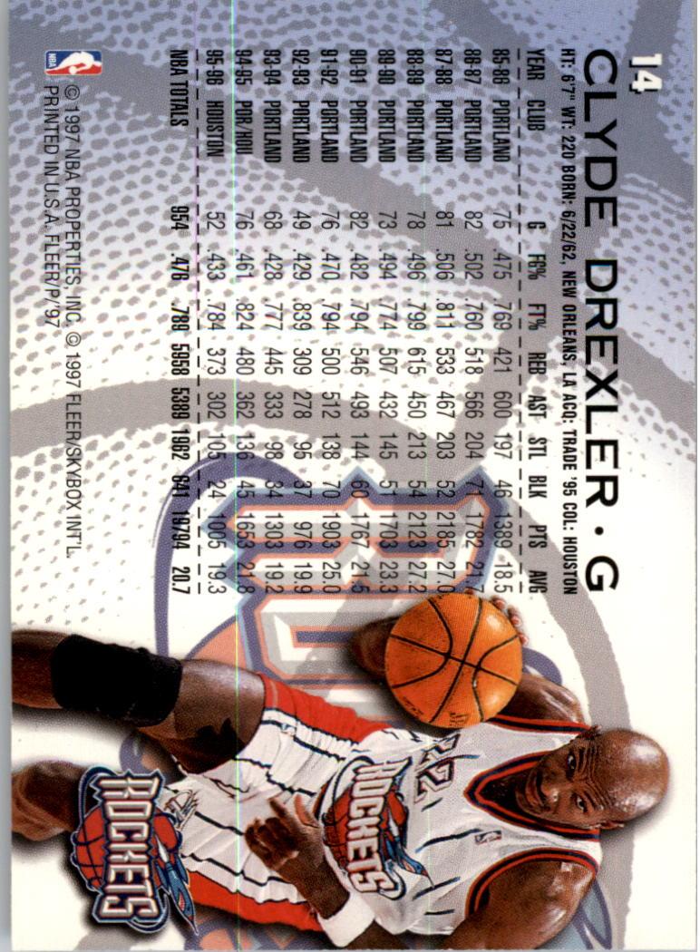 1996-97 Fleer Sprite #14 Clyde Drexler back image